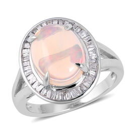 Super Auction- Ethiopian Welo Opal Premium size(Ovl 13x10 mm), Diamond Ring in Rhodium Overlay Sterling Silver 3.070 Ct.
