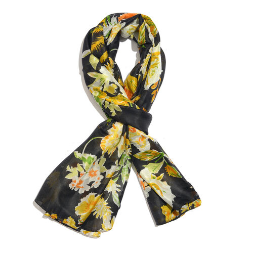 100% Mulberry Silk Black, Yellow and Multi Colour Handscreen Floral Printed Scarf (Size 180X100 Cm)