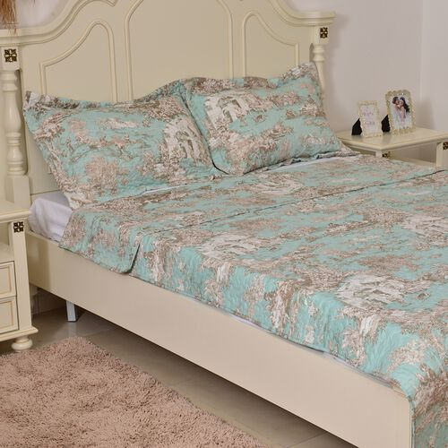 Blue, Brown and Off White Colour Village Pattern Microfiber Reversible Quilt (Size 260X240 Cm) and 2 Pillow Shams (Size 70X50 Cm)