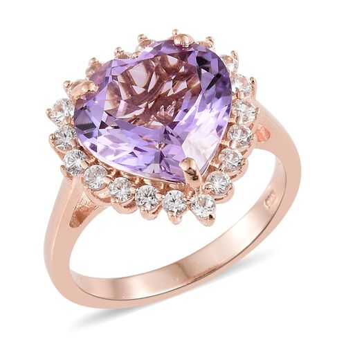 Rose De France Amethyst (Hrt 6.50 Ct), Natural Cambodian Zircon Ring in Rose Gold Overlay Sterling Silver 7.500 Ct.