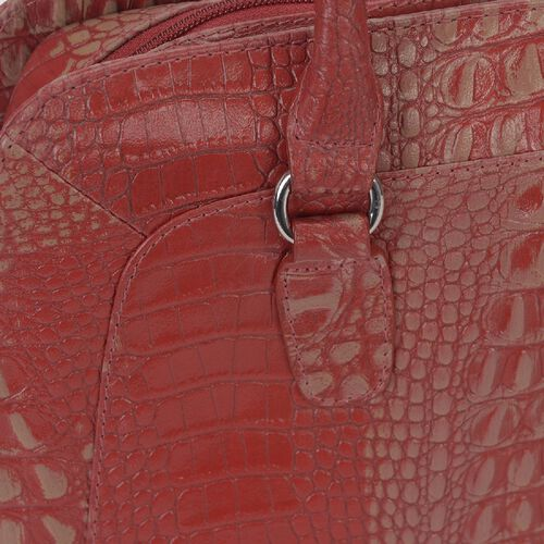 100% Genuine Leather Croc Embossed RFID Protected Shoulder Bag (Size 35.5x23.5x10 Cm) - Red