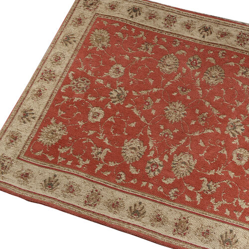 Premium Jacquard Woven Cotton Chenille Area Rug in Red and Multi Colour (Size 80x240 cm)