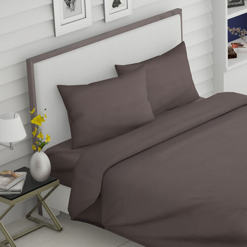 Super Auction - 4 Piece Set - Super Soft Copper Infused 1 Fitted Sheet (150x200+30 Cm), 1 Flat Sheet (275x265 Cm) and 2 Pillowcase (50x75 cm) (Size King) - Olive Grey