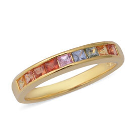 1 Carat Rainbow Sapphire Eternity Band Ring in Gold Plated Sterling Silver