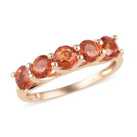 1.75 Ct AAA Sunset Sapphire 5 Stone Ring in 9K Gold 1.8 Grams