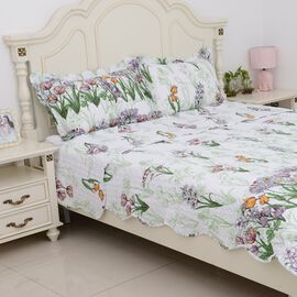 3 Piece Set - Multi Colour Floral Pattern Quilt (Size 260x240 Cm) and Pillow Case (Size 2x50x70+5)
