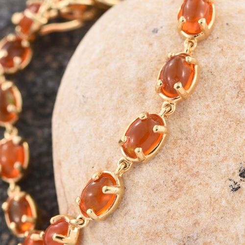 Orange Ethiopian Opal (Ovl) Bracelet (Size 7.5) in 14K Gold Overlay Sterling Silver 5.000 Ct.