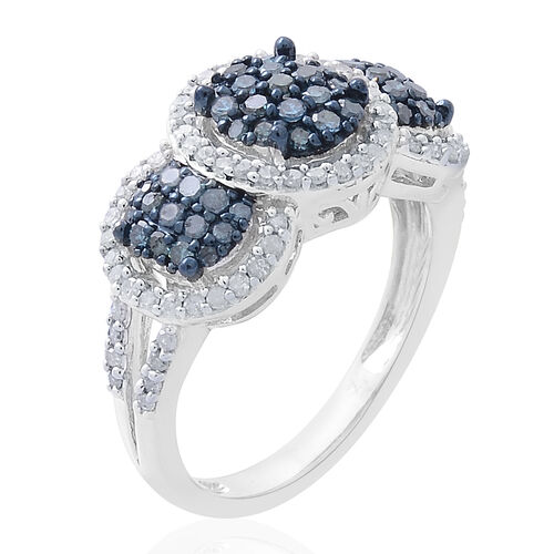 Blue Diamond (Rnd), White Diamond Ring in Platinum Overlay Sterling Silver 1.000 Ct.