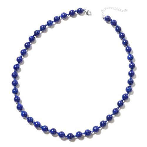 3 Piece Set - Lapis Lazuli (Rnd) Beads Necklace (Size 18 with 2 inch Extender), Stretchable Bracelet (Size 7.5) and Hook Earrings in Rhodium Overlay Sterling Silver 277.00 Ct.