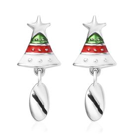 Platinum Overlay Sterling Silver Enamelled Christmas Bell Earrings (with Push Back)