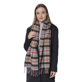 SUPER SOFT Plaid Pattern Wool Scarf with Fringes (Size 30x170+8cm) - Black and Brown