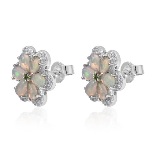 Ethiopian Welo Opal (Pear), Russian Diopside and Natural White Cambodian Zircon Flower Stud Earrings (with Push Back) in Rhodium Plated Sterling Silver 2.200 Ct.