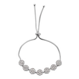 0.49 Ct Diamond Bolo Bracelet in Rhodium Plated Sterling Silver 9.65 Grams