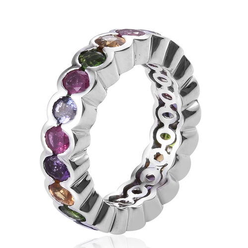 GP Russian Diopside (Ovl), Multi Gemstone Ring in Platinum Overlay Sterling Silver 4.500 Ct.