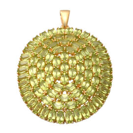 19.72 Ct Hebei Peridot Cluster Pendant in Gold Plated Sterling Silver