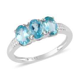 Paraibe Apatite (Ovl) Ring in Sterling Silver 1.50 Ct.