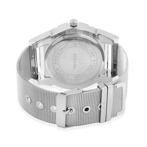 STRADA Japanese Movement Water Resistant White Dial Watch with Silver Strap