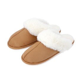 Super Soft Suede Home Slippers with Faux Fur - Coffee