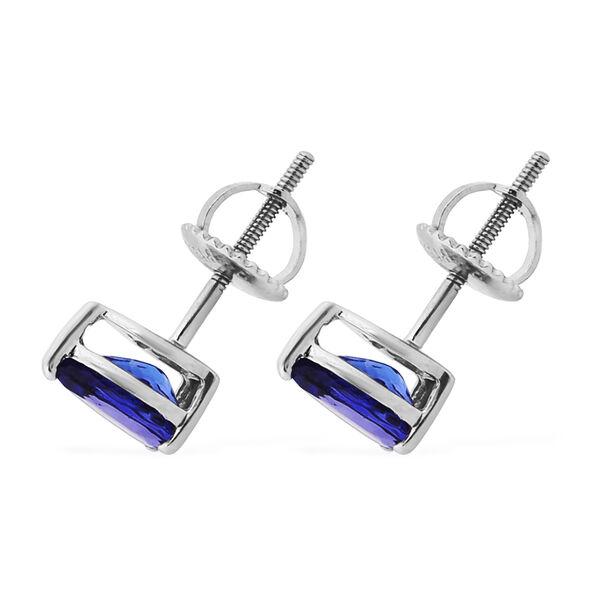 RHAPSODY 950 Platinum AAAA Tanzanite Stud Earrings (with Screw Back) 1.50 Ct.