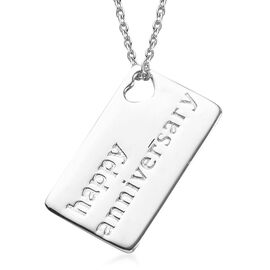 Platinum Overlay Sterling Silver Happy Anniversary Pendant with Chain (Size 18)