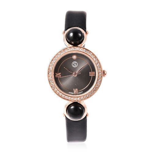 2 Piece Set - STRADA Japanese Movement Black Onyx and White Austrian Crystal Studded Water Resistant Watch with Black Strap and Pendant with Chain (Size 28) in Rose Gold Tone 16.00 Ct.