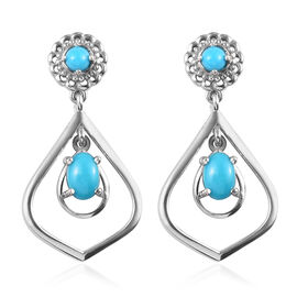 1.25 Ct Arizona Sleeping Beauty Turquoise Drop Earrings in Platinum Plated Sterling Silver