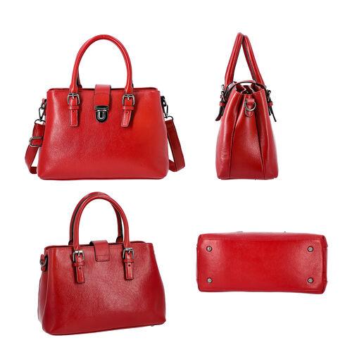 100% Genuine Leather Handbag with Detachable Shoulder Strap and Zipper Closure (Size 30x12x20cm) - Burgundy