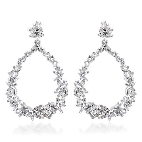GP Diamond (Bgt), Kanchanaburi Blue Sapphire Earrings (with Push Back) in Platinum Overlay Sterling Silver 1.060 Ct. Number of Diamonds 192
