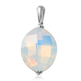 J Francis White Opal Crystal from Swarovski Boll Pendant in Platinum Plated Sterling Silver