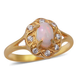 Ethiopian Welo Opal and Natural Cambodian White Zircon Ring in Yellow Gold Overlay Sterling Silver
