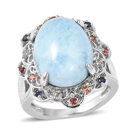 Larimar (Ovl 16x12 mm), Multi Sapphire Ring in Rhodium Overlay Sterling Silver 10.570 Ct, Silver wt 5.91 Gms