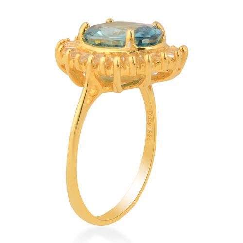 Ratanakiri Blue Zircon and Natural Cambodian Zircon Halo Ring in Yellow Gold Overlay Sterling Silver 4.86 Ct.