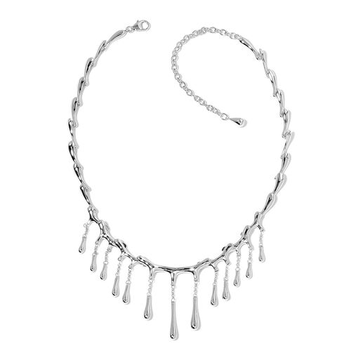 LucyQ Multi Drip Necklace (Size 16 with 4 inch Extender) in Rhodium Plated Sterling Silver 42.45 Gms.