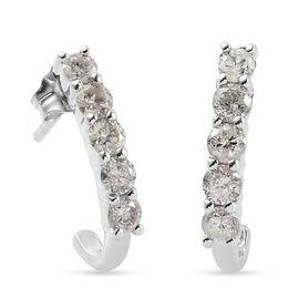 9K White Gold SGL Certified Diamond (I3/G-H) Earrings (with Push Back) Overlay 0.52 Ct