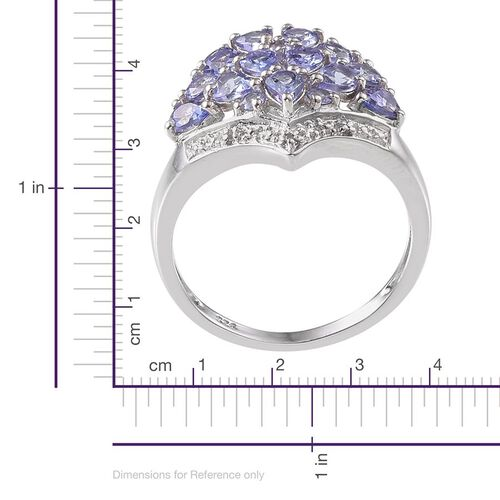 Tanzanite (Pear), Diamond Ring in Platinum Overlay Sterling Silver 1.760 Ct.