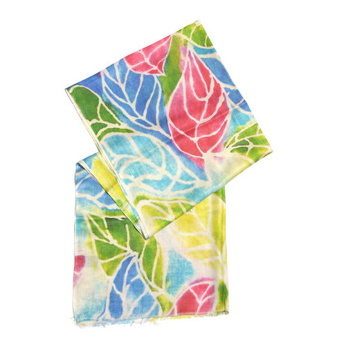 One Time Deal- 100% Modal Pink, Blue and Multi Colour Leaf Digital Printed Scarf (Size 200x70 Cm)