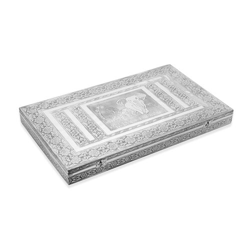 Elephant Family Embossed Ring Storage Box with Wine Red Velvet Lining (Size 56x33x5 Cm)