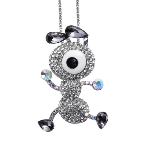 Simulated Grey Spinel, Multi Colour Austrian Crystal Enamelled Dainty Ant Pendant with Chain (Size 3