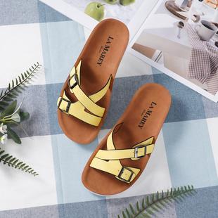 LA MAREY Criss Cross Pattern Two Strap Slippers (Size 3) - Yellow