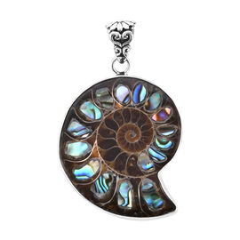 Royal Bali Collection Ammonite and Abalone Shell Pendant in Sterling Silver