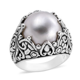Bali Legacy Collection - Mabe White Pearl (Rnd) Ring in Sterling Silver, Silver wt 10.00 Gms