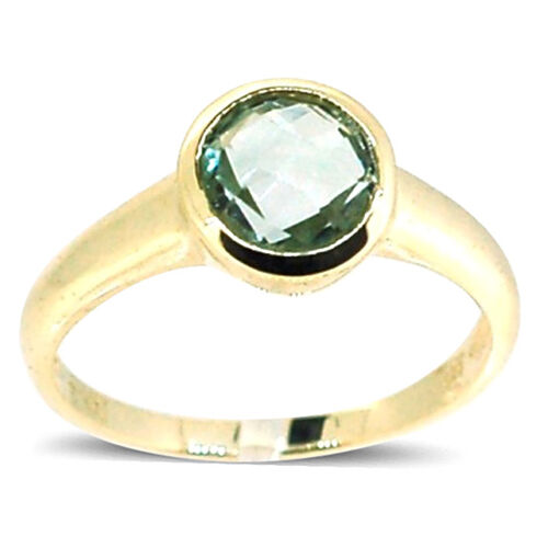 Green Amethyst (Rnd) Ring in 14K Gold Overlay Sterling Silver 1.750 Ct.t.