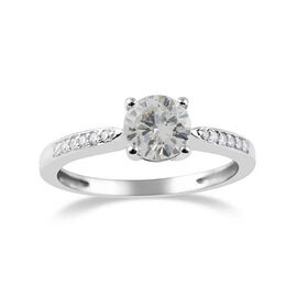 14K White Gold SGL Certified Diamond (Rnd) (I2-I3/G-H) Ring 1.00 Ct.