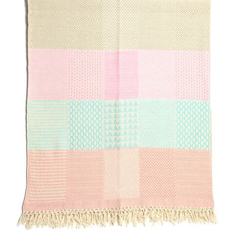 100% Cotton Hand Woven Green, Pink and Multi Colour Patch Look Jacquard Bedcover with Fringes (Size 270x220 Cm)