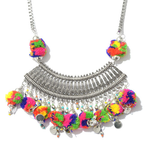 Trendy Boho Style Pom-Pom Necklace in Silver Plated