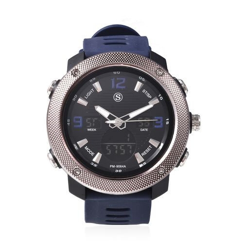 STRADA Japanese and Electronic Movement 5ATM Water Resistant Sports Watch in Stainless Steel with Na