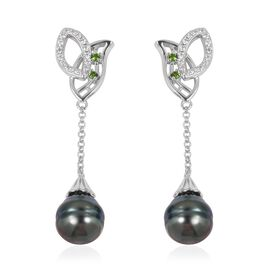 Tahitian Baroque Pearl (11-11.5 mm), Russian Diopside and Natural White Cambodian Zircon Earrings (w