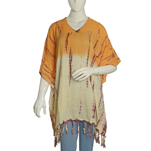 V Neck Orange, Cream and Multi Colour Poncho/Beach Cover Up with Tassels (Free Size)