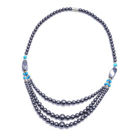 Hematite, Blue Howlite and Multi Gemstone Necklace (Size 20) with Magnetic Lock 498.00 Ct.