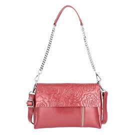 100% Genuine Leather Multiple Pocket Rose Pattern Flap Bag with Detachable Shoulder Strap (Size 25x9